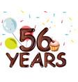 happy birthday fifty six 56 year vector image