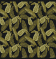 military seamless pattern with tropical leaves vector image
