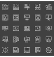 Video editing linear icons vector image