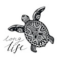 zentangle turtle with calligraphic quote - long vector image