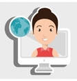 woman thinking creating bubble vector image