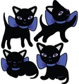 Set of cats silhouettes cartoon vector image vector image