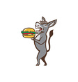 Donkey Mascot Serving Hamburger Isolated Retro vector image