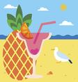 Pineapple juice on a beach vector image