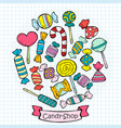 sketch colored candies and lollipops collection vector image