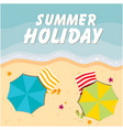 summer holiday beach umbrella and chair background vector image