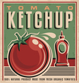 Tomato ketchup retro design concept vector image