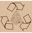 Recycling symbol with tree on cardboard vector image vector image