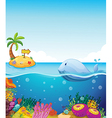 A fish looking at the island with an arrow Vector Image