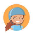 smiling girl in blue helmet simple cartoon style vector image vector image