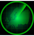 Radar screen with a silhouette of Europe vector image