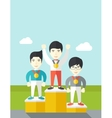 Cheerful winners on pedestal vector image