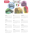 Calendar 2016Italy Landmarks panoramawatercolor vector image