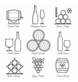 Wine line icons vector image