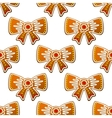 Christmas gingerbread bows seamless pattern vector image