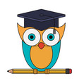 colorful image of owl knowledge with cap vector image