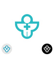 Man with cross religion or medical logo vector image