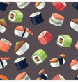 Seamless Pattern with picture set of Sushi vector image