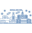 usa new york buffalo winter city skyline merry vector image