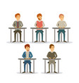 white background set men sitting on desk business vector image