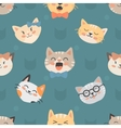 Seamless hipster cats pattern vector image