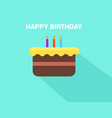 flat birthday cake with happy birthday text vector image