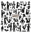 jazz mans - doodles set vector image