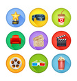 A detailed set of realistic cinema icons for web vector image
