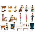 barber pet grooming salon flat icon set vector image