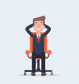 businessman sitting calmly on a casters chair legs vector image