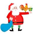 Christmas Santa and cock vector image