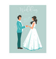 hand drawn abstract cartoon wedding couple vector image