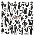 jazz mans - doodles set vector image