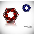 Logo banner of twisted metal hexagon with lights vector image