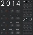 Simple european 2014 2015 2016 year calendars vector image