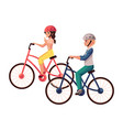 young pretty woman riding bicycle cycling vector image