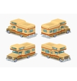 Low poly brown motor home vector image