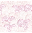 Pink hearts background on white Seamless pattern vector image vector image