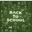 Chalkboard with green surface Set of Kids drawing vector image