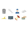 garbage and waste icons in set collection for vector image