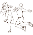 hip-hop dance boy and girl vector image