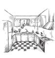 Kitchen interior drawing vector image
