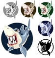 Sharks set assorted colors in the circle vector image