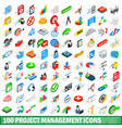 100 project management icons set isometric style vector image
