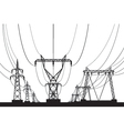 Electrical transmission towers in perspective vector image