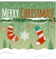 Card with Christmas decoration gifts in socks vector image