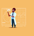 african american doctor working with robotic hand vector image
