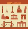 europe landmarks flat icon set travel and tourism vector image