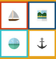 flat icon summer set of ocean yacht reminders vector image