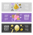 horizontal banner set with gold glitter elements vector image